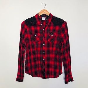 Harley-Davidson Red + Lace Flannel Button Down M
